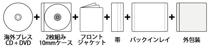 海外CDプレス×DVDプレス 2枚組みケース+印刷物3点セット
